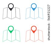 map icon   colored vector  set