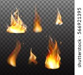 set of bright realistic fire...   Shutterstock .eps vector #566921395