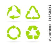eco green recycled symbol set... | Shutterstock .eps vector #566926561