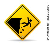 danger cliff edge warning sign... | Shutterstock .eps vector #566926597