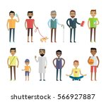 big set of male characters s in ... | Shutterstock . vector #566927887
