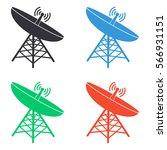 satellite icon   colored vector ... | Shutterstock .eps vector #566931151