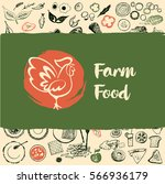 farm food logo with rooster.... | Shutterstock .eps vector #566936179