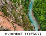 aerial view of blue tara river... | Shutterstock . vector #566942731