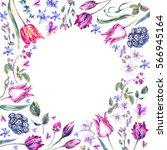 watercolor floral spring round... | Shutterstock . vector #566945164
