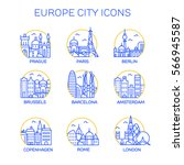 europe city icons. vector | Shutterstock .eps vector #566945587