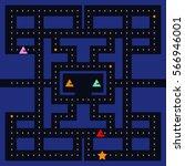 old arcade video game design.... | Shutterstock .eps vector #566946001