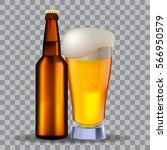 glass and a brown bottle of...   Shutterstock .eps vector #566950579