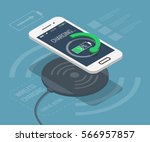smartphone wireless charging in ... | Shutterstock .eps vector #566957857