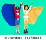 superhero kids hands up flying... | Shutterstock . vector #566958865