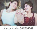 happy gay couple spending time... | Shutterstock . vector #566964847