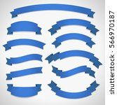 blue curved ribbon banners set... | Shutterstock .eps vector #566970187