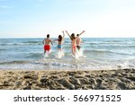 four happy friends young people ...   Shutterstock . vector #566971525