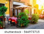 cozy old street in trastevere...   Shutterstock . vector #566973715