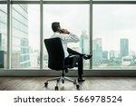 rear view of businessman... | Shutterstock . vector #566978524