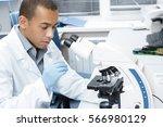 biology pro. handsome african... | Shutterstock . vector #566980129
