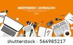 mass media background in a flat ... | Shutterstock .eps vector #566985217