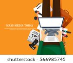 mass media background in a flat ... | Shutterstock .eps vector #566985745