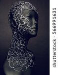 mannequin head with creative... | Shutterstock . vector #566991631