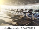 modern gym interior with... | Shutterstock . vector #566994091