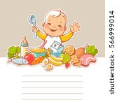 happy smiling little boy... | Shutterstock .eps vector #566999014