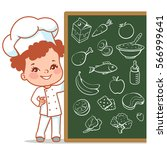 cartoon kid as little chef.... | Shutterstock .eps vector #566999641