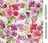 seamless pattern garden flowers | Shutterstock . vector #567003391