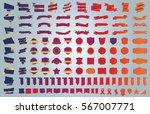 blue banner ribbon label vector ... | Shutterstock .eps vector #567007771