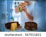 overweight man on diet break... | Shutterstock . vector #567011821
