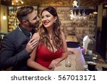 man flirt to beautiful woman... | Shutterstock . vector #567013171