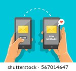 sending love message concept.... | Shutterstock .eps vector #567014647