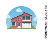 detailed colorful house. flat...   Shutterstock .eps vector #567015451