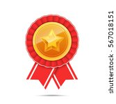 3d gold medal with star and red ... | Shutterstock .eps vector #567018151