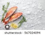 Fresh Red Mullet Fish With...