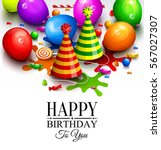 happy birthday greeting card.... | Shutterstock .eps vector #567027307