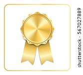 award ribbon gold icon. blank... | Shutterstock .eps vector #567027889