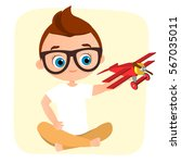 young boy with glasses and toy... | Shutterstock .eps vector #567035011