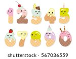 cute kawaii numbers made of... | Shutterstock .eps vector #567036559