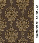 brown with gold damask background - stock photo
