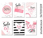 set of 6 discount  cards design.... | Shutterstock .eps vector #567059209