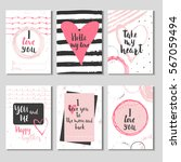 set of 6 valentines day gift... | Shutterstock .eps vector #567059494