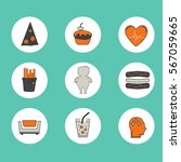 obesity icons set   fast food ... | Shutterstock .eps vector #567059665