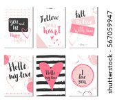 set of 6 valentines day gift... | Shutterstock .eps vector #567059947