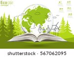 environmentally friendly world. ... | Shutterstock .eps vector #567062095