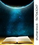 ancient book and earth globe... | Shutterstock . vector #567063247
