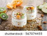 healthy meal made of granola ... | Shutterstock . vector #567074455