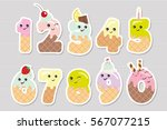 cute kawaii numbers made of... | Shutterstock .eps vector #567077215