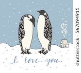 I Love You Card With Penguins