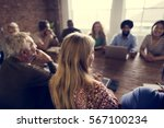 people meeting seminar office... | Shutterstock . vector #567100234