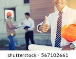 architect and engineer inspect... | Shutterstock . vector #567102661